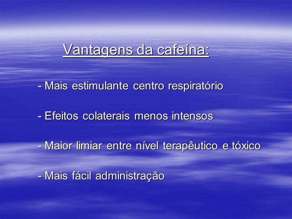 Vantagens da cafeína: Vantagens da cafeína: - Mais estimulante centro respiratório - Mais estimulante centro respiratório - Efeitos colaterais menos i