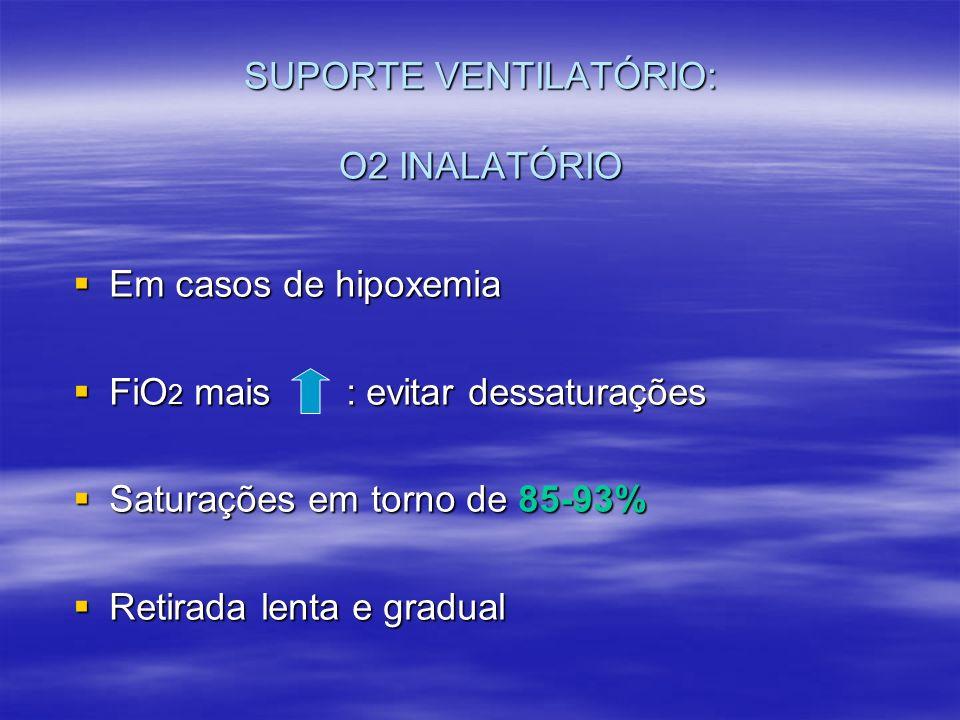 SUPORTE VENTILATÓRIO: O2 INALATÓRIO Em casos de hipoxemia Em casos de hipoxemia FiO 2 mais : evitar dessaturações FiO 2 mais : evitar dessaturações Sa
