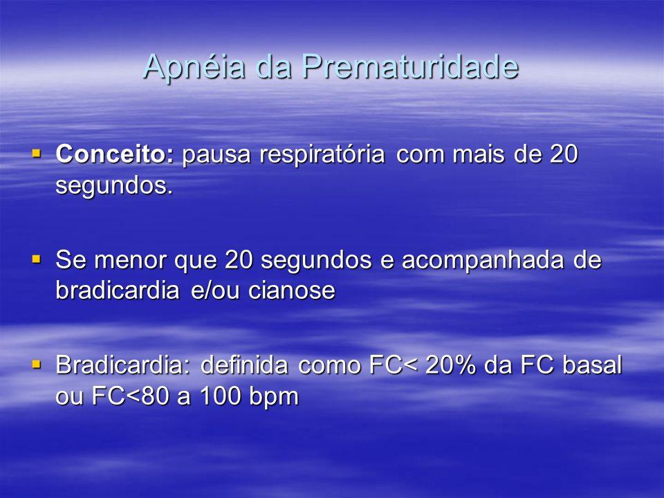 Apnéia da Prematuridade Conceito: pausa respiratória com mais de 20 segundos. Conceito: pausa respiratória com mais de 20 segundos. Se menor que 20 se