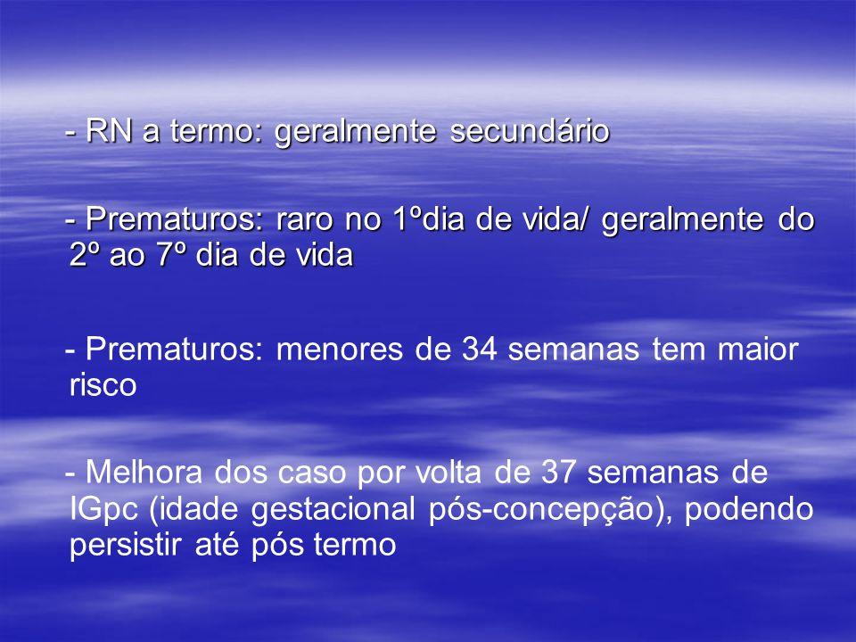- RN a termo: geralmente secundário - RN a termo: geralmente secundário - Prematuros: raro no 1ºdia de vida/ geralmente do 2º ao 7º dia de vida - Prem