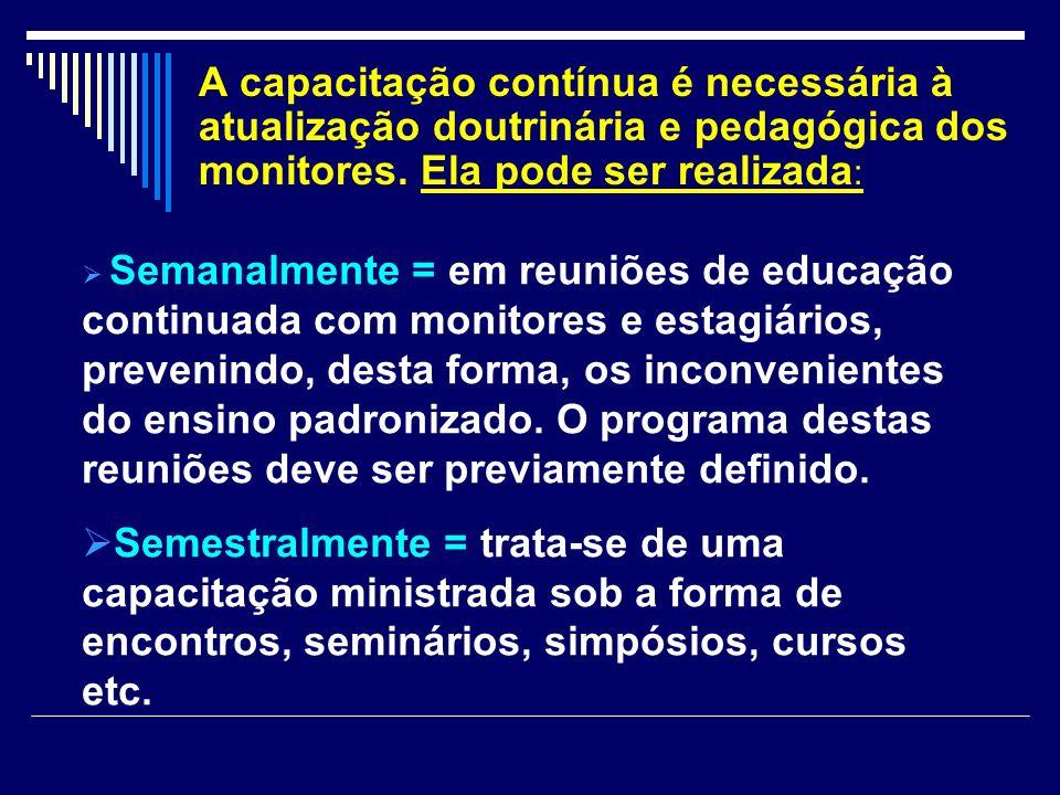 A capacitação contínua é necessária à atualização doutrinária e pedagógica dos monitores. Ela pode ser realizada : Semanalmente = em reuniões de educa