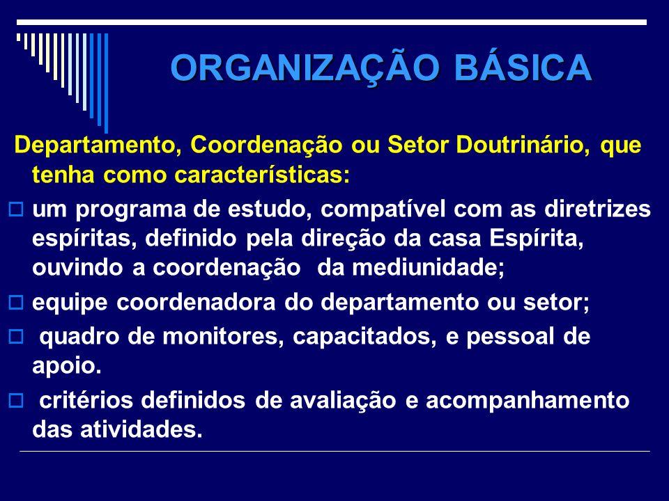 ORGANIZAÇÃO BÁSICA Departamento, Coordenação ou Setor Doutrinário, que tenha como características: um programa de estudo, compatível com as diretrizes