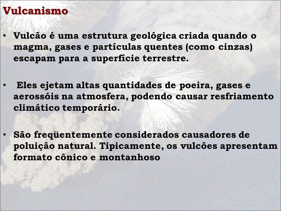 Vulcanismo Vulcão é uma estrutura geológica criada quando o magma, gases e partículas quentes (como cinzas) escapam para a superfície terrestre. Eles