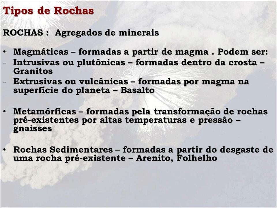 Tipos de Rochas ROCHAS : Agregados de minerais ROCHAS : Agregados de minerais Magmáticas – formadas a partir de magma. Podem ser: Magmáticas – formada
