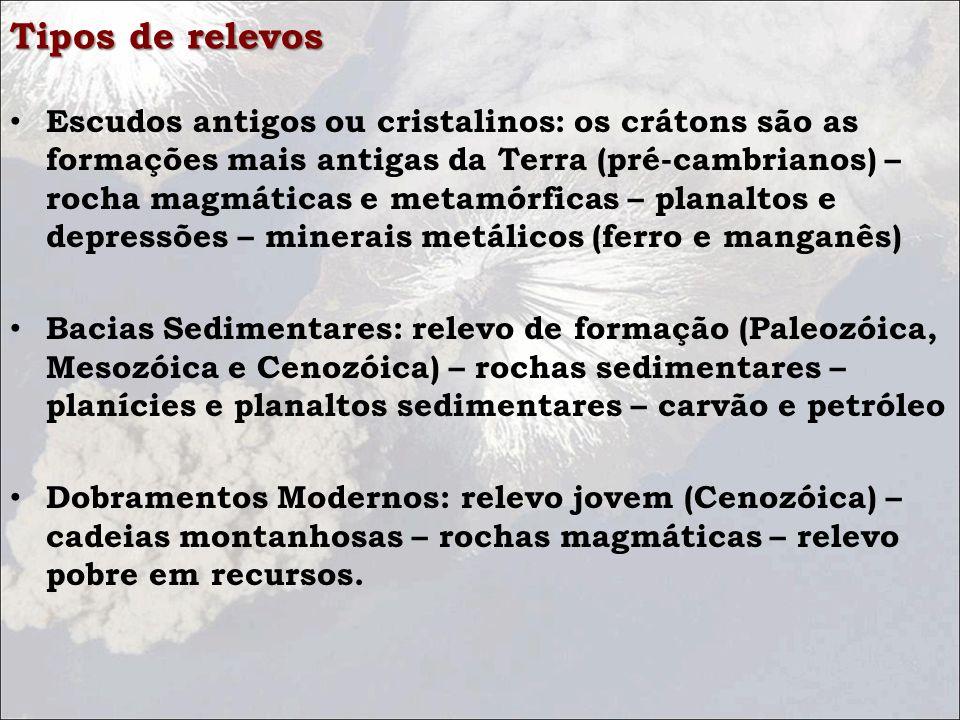 Tipos de relevos Escudos antigos ou cristalinos: os crátons são as formações mais antigas da Terra (pré-cambrianos) – rocha magmáticas e metamórficas