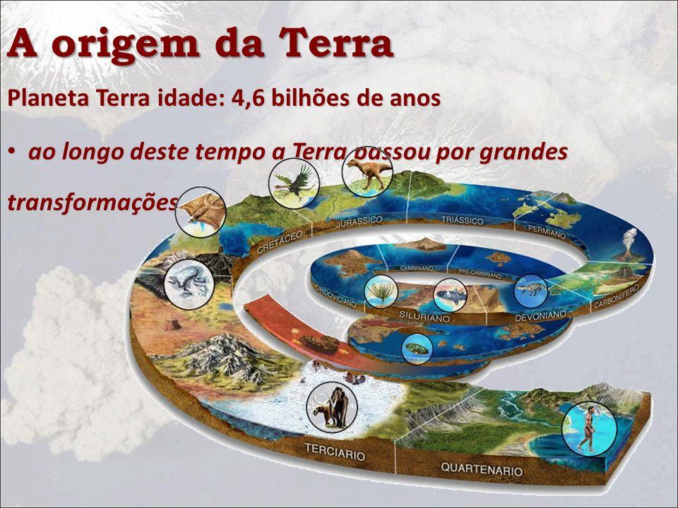 Planeta Terra idade: 4,6 bilhões de anos ao longo deste tempo a Terra passou por grandes transformações. ao longo deste tempo a Terra passou por grand