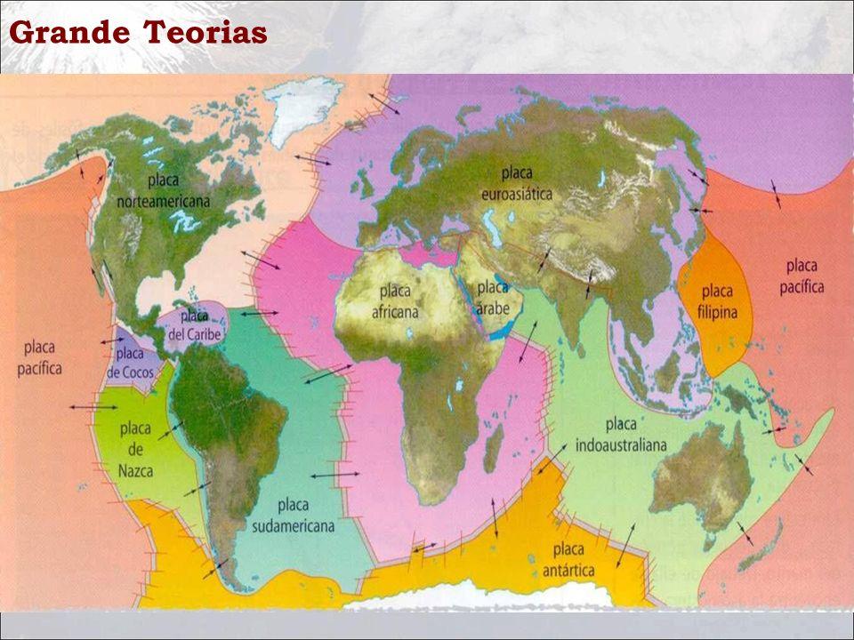 Grande Teorias Uma placa tectônica é uma porção da litosfera limitada por zonas de convergência, zonas de subdução e zonas conservativas. Uma placa te