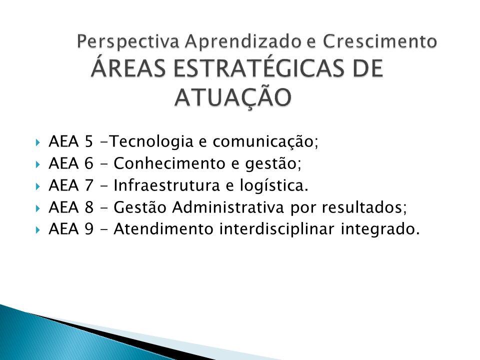AEA 5 -Tecnologia e comunicação; AEA 6 - Conhecimento e gestão; AEA 7 - Infraestrutura e logística. AEA 8 - Gestão Administrativa por resultados; AEA