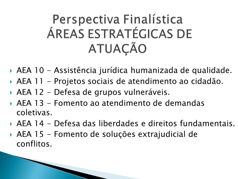 AEA 10 - Assistência jurídica humanizada de qualidade. AEA 11 - Projetos sociais de atendimento ao cidadão. AEA 12 - Defesa de grupos vulneráveis. AEA