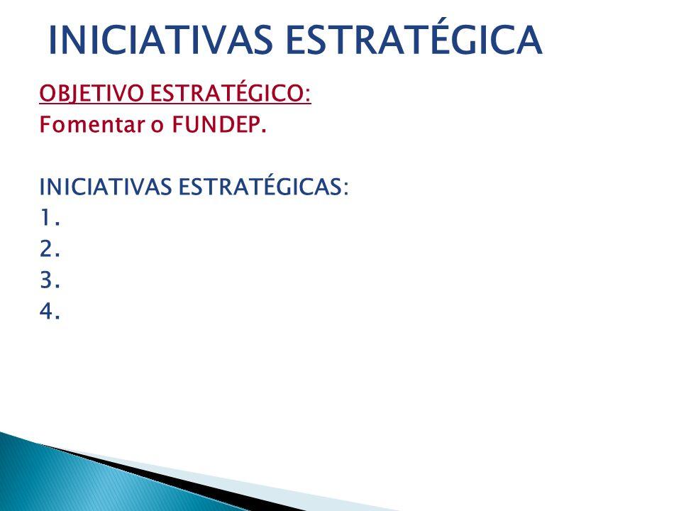 OBJETIVO ESTRATÉGICO: Fomentar o FUNDEP. INICIATIVAS ESTRATÉGICAS: 1. 2. 3. 4. INICIATIVAS ESTRATÉGICA