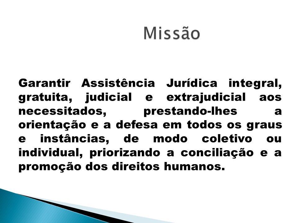 Missão Garantir Assistência Jurídica integral, gratuita, judicial e extrajudicial aos necessitados, prestando-lhes a orientação e a defesa em todos os