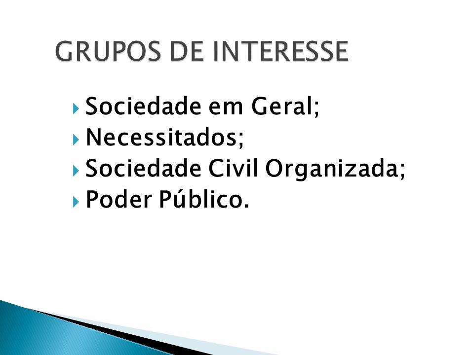 GRUPOS DE INTERESSE Sociedade em Geral; Necessitados; Sociedade Civil Organizada; Poder Público.