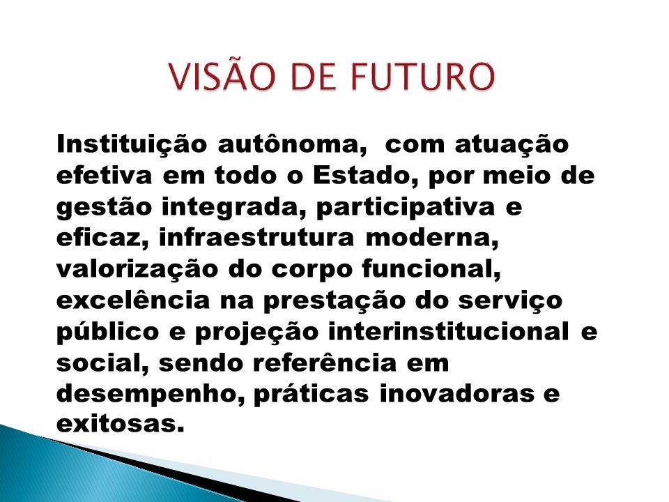 Instituição autônoma, com atuação efetiva em todo o Estado, por meio de gestão integrada, participativa e eficaz, infraestrutura moderna, valorização