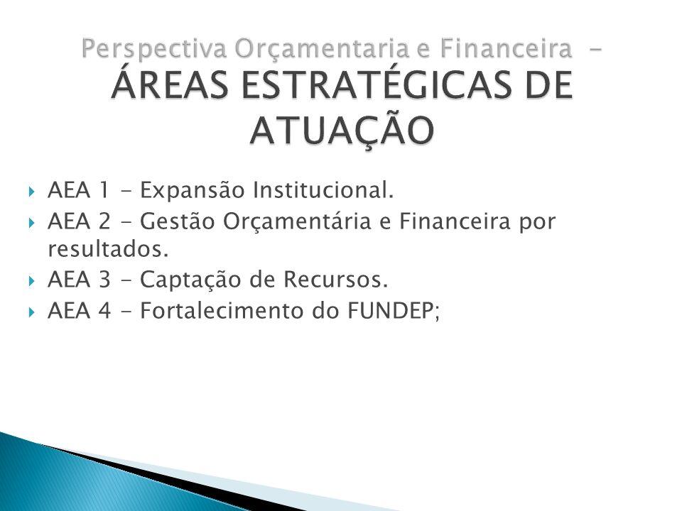 AEA 1 - Expansão Institucional. AEA 2 - Gestão Orçamentária e Financeira por resultados. AEA 3 - Captação de Recursos. AEA 4 - Fortalecimento do FUNDE