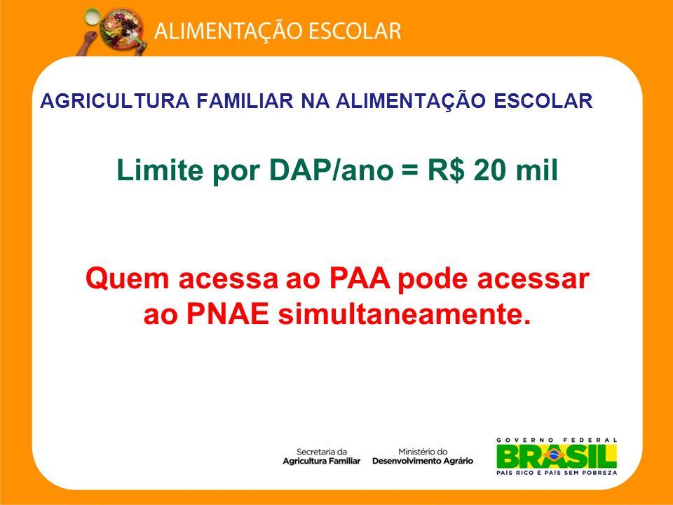 AGRICULTURA FAMILIAR NA ALIMENTAÇÃO ESCOLAR Limite por DAP/ano = R$ 20 mil Quem acessa ao PAA pode acessar ao PNAE simultaneamente.