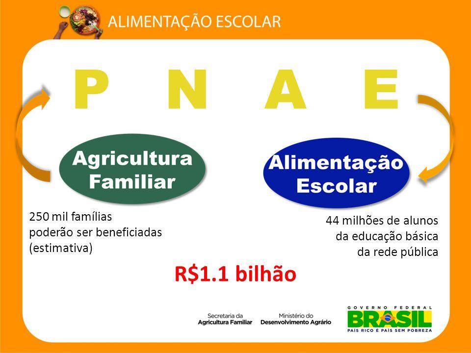 P N A E 44 milhões de alunos da educação básica da rede pública 250 mil famílias poderão ser beneficiadas (estimativa) R$1.1 bilhão