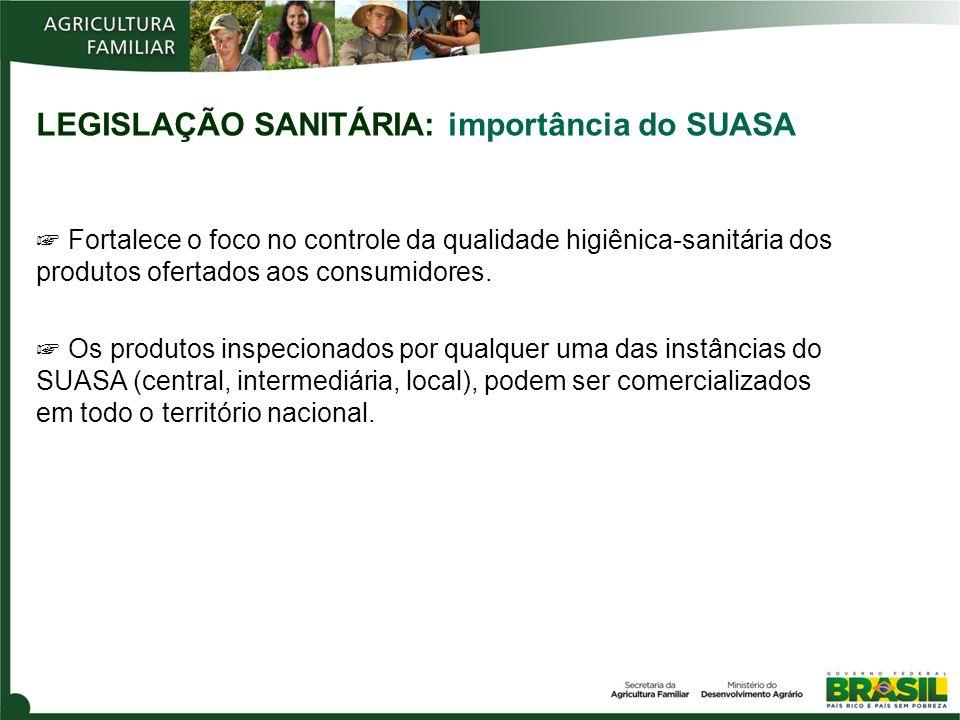 LEGISLAÇÃO SANITÁRIA: importância do SUASA Fortalece o foco no controle da qualidade higiênica-sanitária dos produtos ofertados aos consumidores.