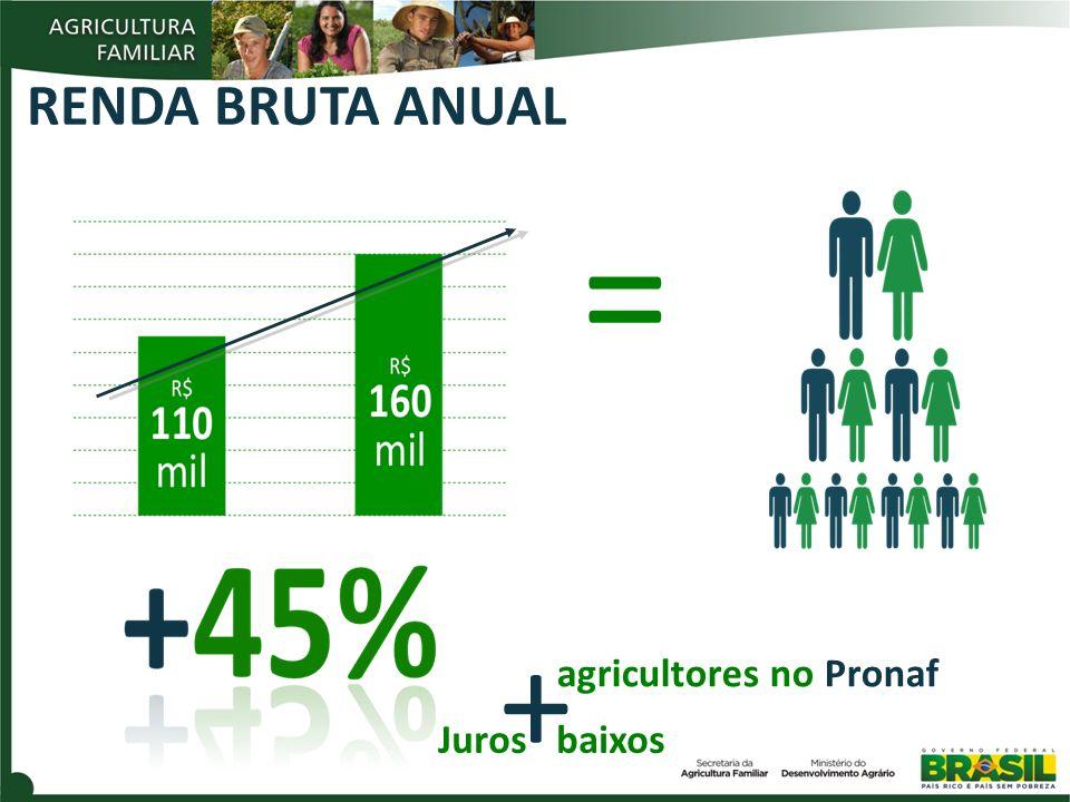 RENDA BRUTA ANUAL = + agricultores no Pronaf Juros baixos