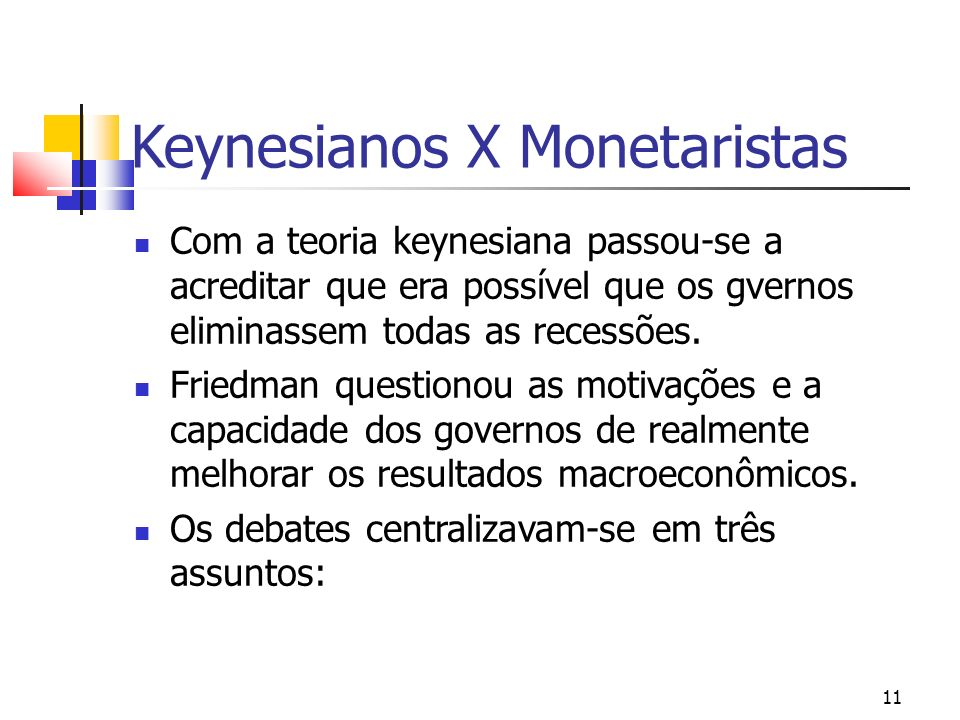 11 Keynesianos X Monetaristas Com a teoria keynesiana passou-se a acreditar que era possível que os gvernos eliminassem todas as recessões. Friedman q