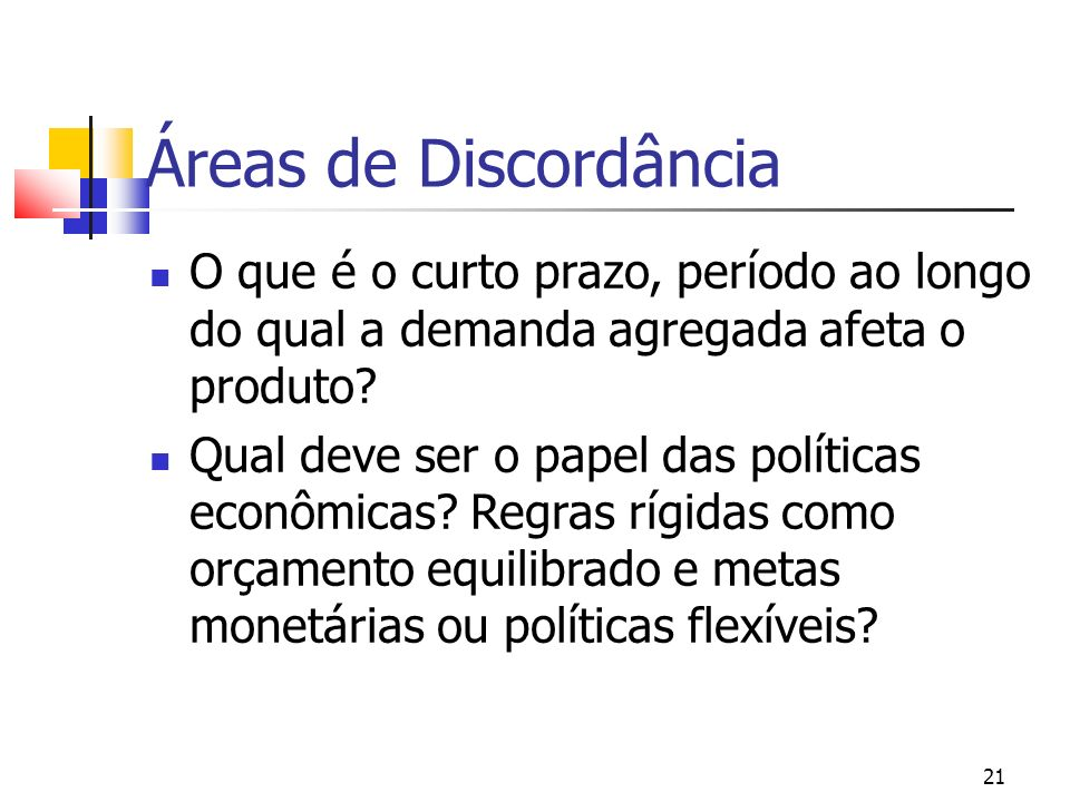 21 Áreas de Discordância O que é o curto prazo, período ao longo do qual a demanda agregada afeta o produto? Qual deve ser o papel das políticas econô