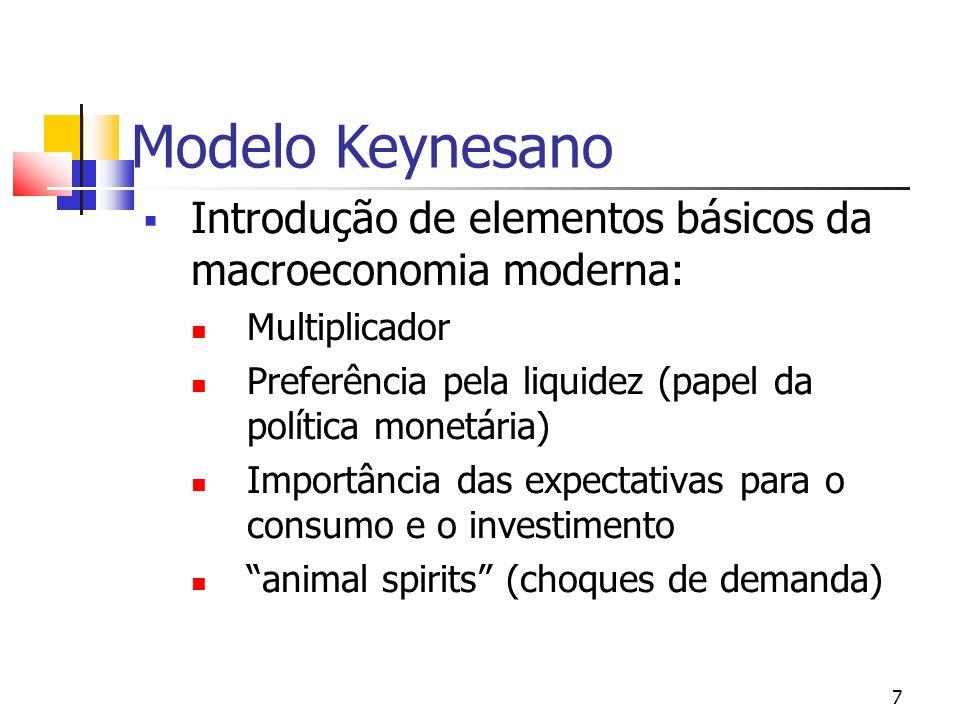 7 Modelo Keynesano Introdução de elementos básicos da macroeconomia moderna: Multiplicador Preferência pela liquidez (papel da política monetária) Imp