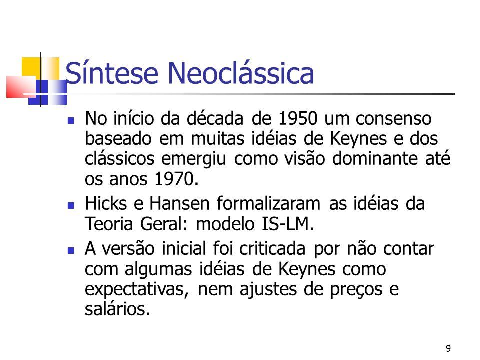 9 Síntese Neoclássica No início da década de 1950 um consenso baseado em muitas idéias de Keynes e dos clássicos emergiu como visão dominante até os a