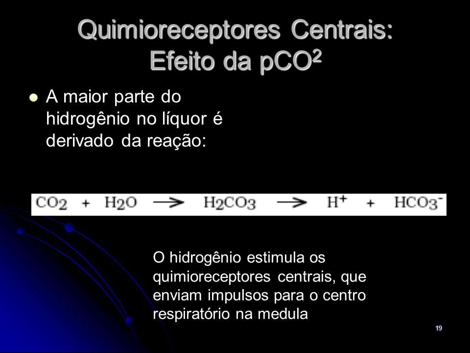 19 Quimioreceptores Centrais: Efeito da pCO 2 A maior parte do hidrogênio no líquor é derivado da reação: O hidrogênio estimula os quimioreceptores ce