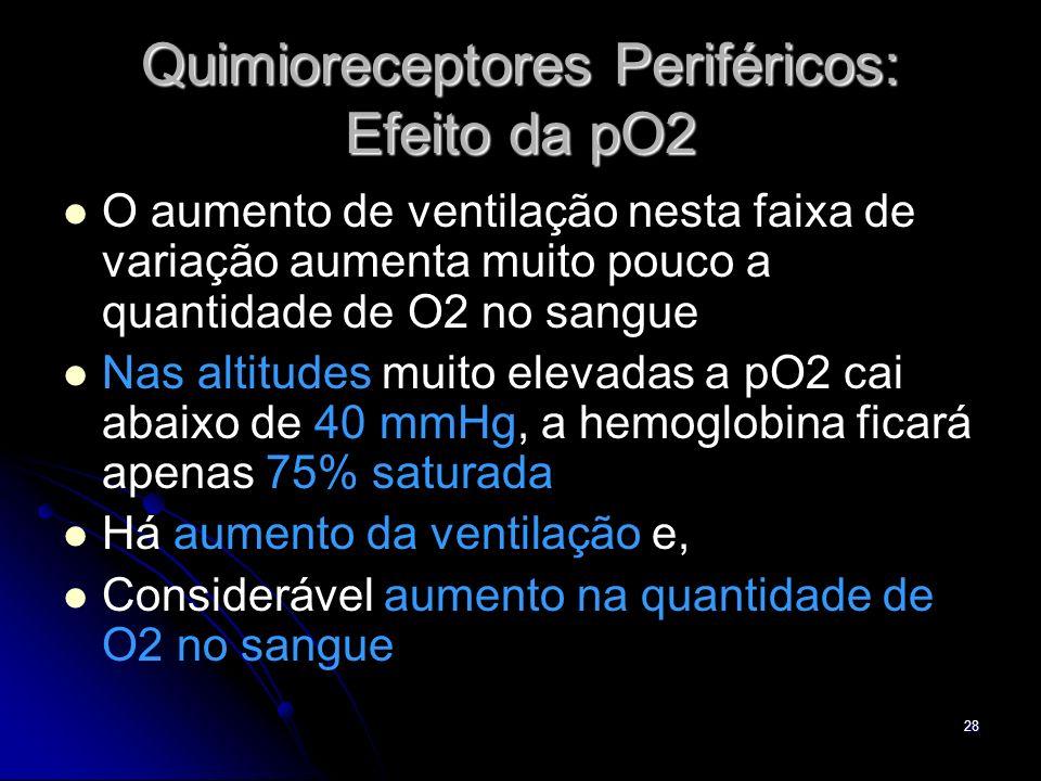 28 Quimioreceptores Periféricos: Efeito da pO2 O aumento de ventilação nesta faixa de variação aumenta muito pouco a quantidade de O2 no sangue Nas al