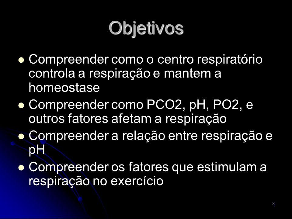 3 Objetivos Compreender como o centro respiratório controla a respiração e mantem a homeostase Compreender como PCO2, pH, PO2, e outros fatores afetam