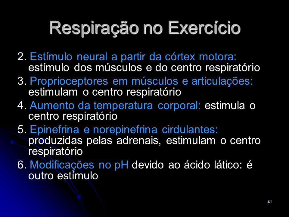 41 Respiração no Exercício 2. Estímulo neural a partir da córtex motora: estímulo dos músculos e do centro respiratório 3. Proprioceptores em músculos