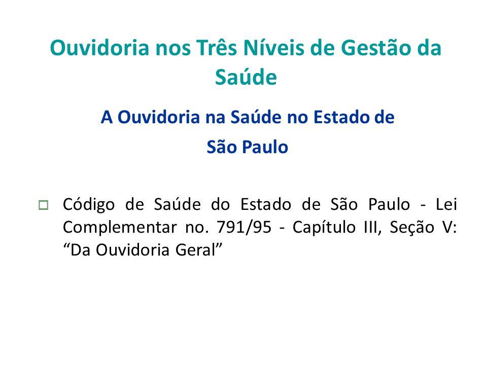 Ouvidoria nos Três Níveis de Gestão da Saúde A Ouvidoria na Saúde no Estado de São Paulo Código de Saúde do Estado de São Paulo - Lei Complementar no.