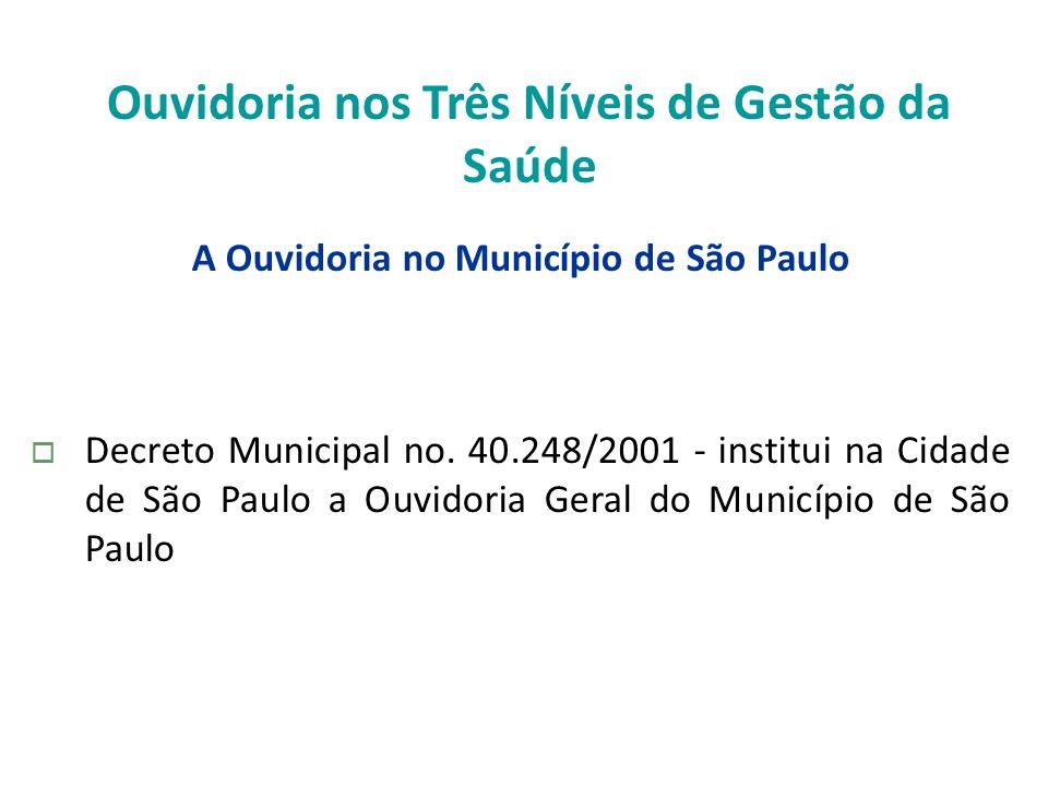 Ouvidoria nos Três Níveis de Gestão da Saúde A Ouvidoria no Município de São Paulo Decreto Municipal no. 40.248/2001 - institui na Cidade de São Paulo