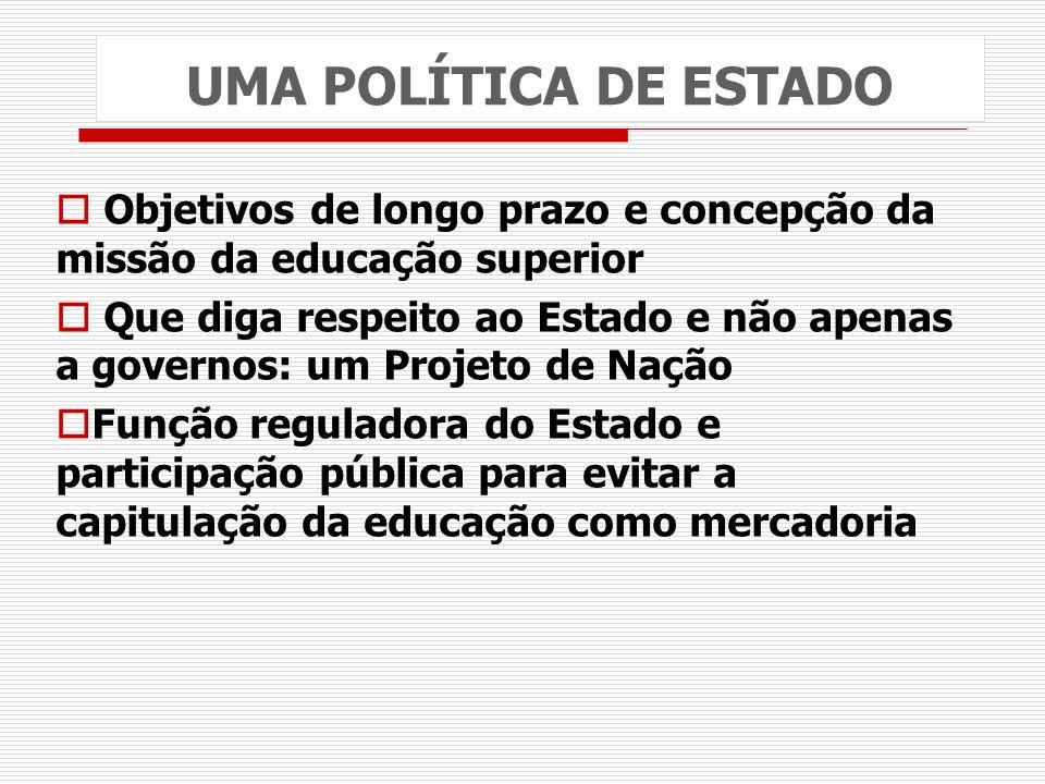 UMA POLÍTICA DE ESTADO Objetivos de longo prazo e concepção da missão da educação superior Que diga respeito ao Estado e não apenas a governos: um Pro
