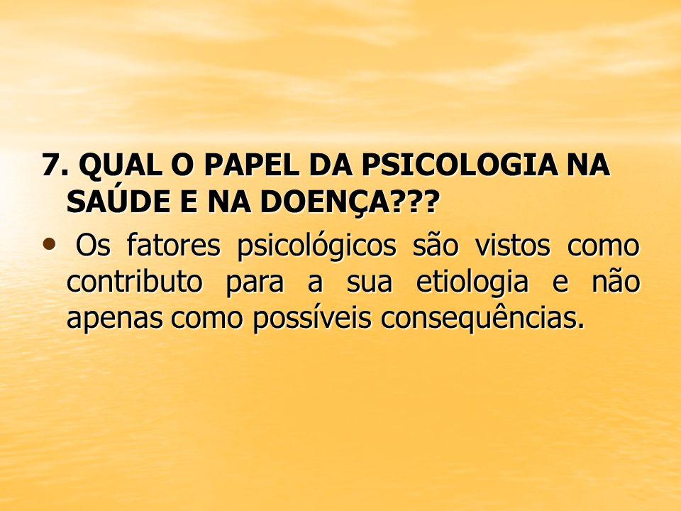7. QUAL O PAPEL DA PSICOLOGIA NA SAÚDE E NA DOENÇA??? Os fatores psicológicos são vistos como contributo para a sua etiologia e não apenas como possív