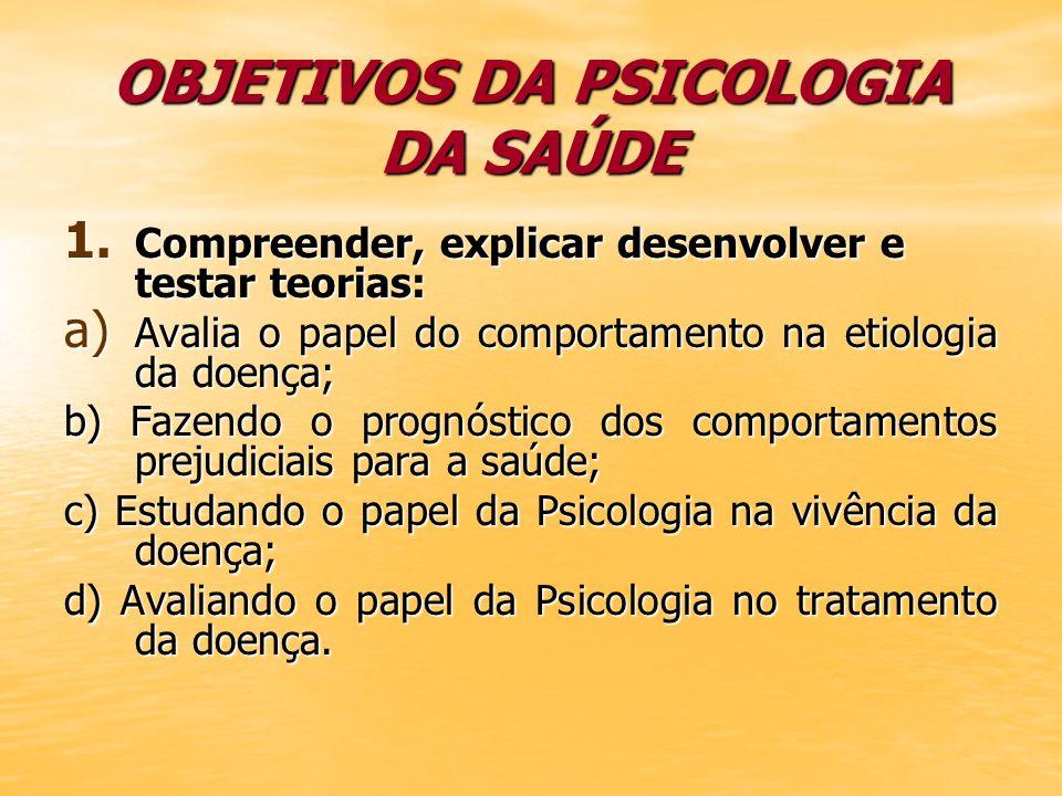 OBJETIVOS DA PSICOLOGIA DA SAÚDE 1. Compreender, explicar desenvolver e testar teorias: a) Avalia o papel do comportamento na etiologia da doença; b)