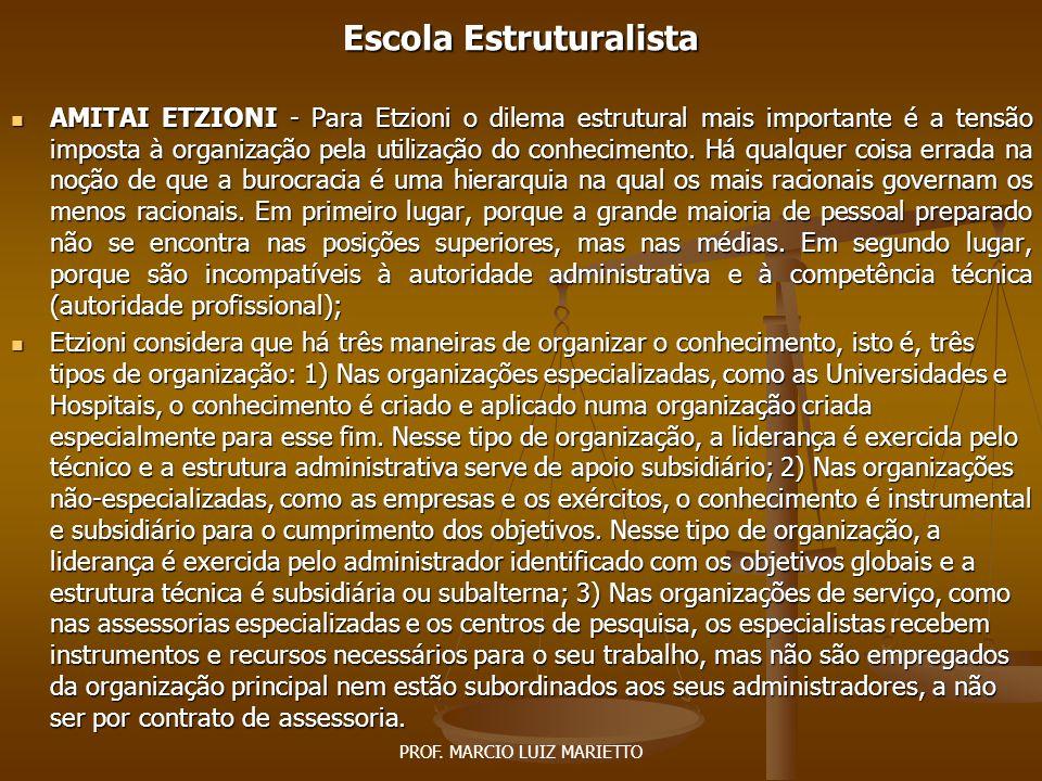 PROF.MARCIO LUIZ MARIETTO Escola Estruturalista HAROLD J.