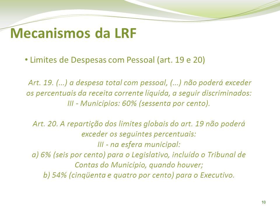 10 Mecanismos da LRF Limites de Despesas com Pessoal (art. 19 e 20) Art. 19. (...) a despesa total com pessoal, (...) não poderá exceder os percentuai