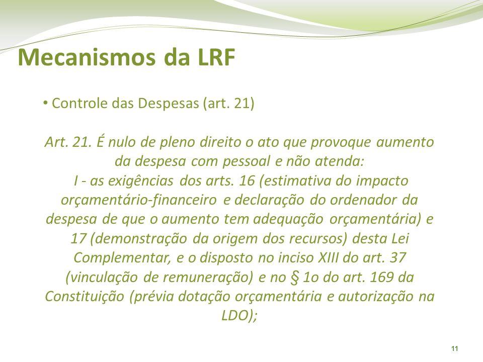 11 Mecanismos da LRF Controle das Despesas (art. 21) Art. 21. É nulo de pleno direito o ato que provoque aumento da despesa com pessoal e não atenda: