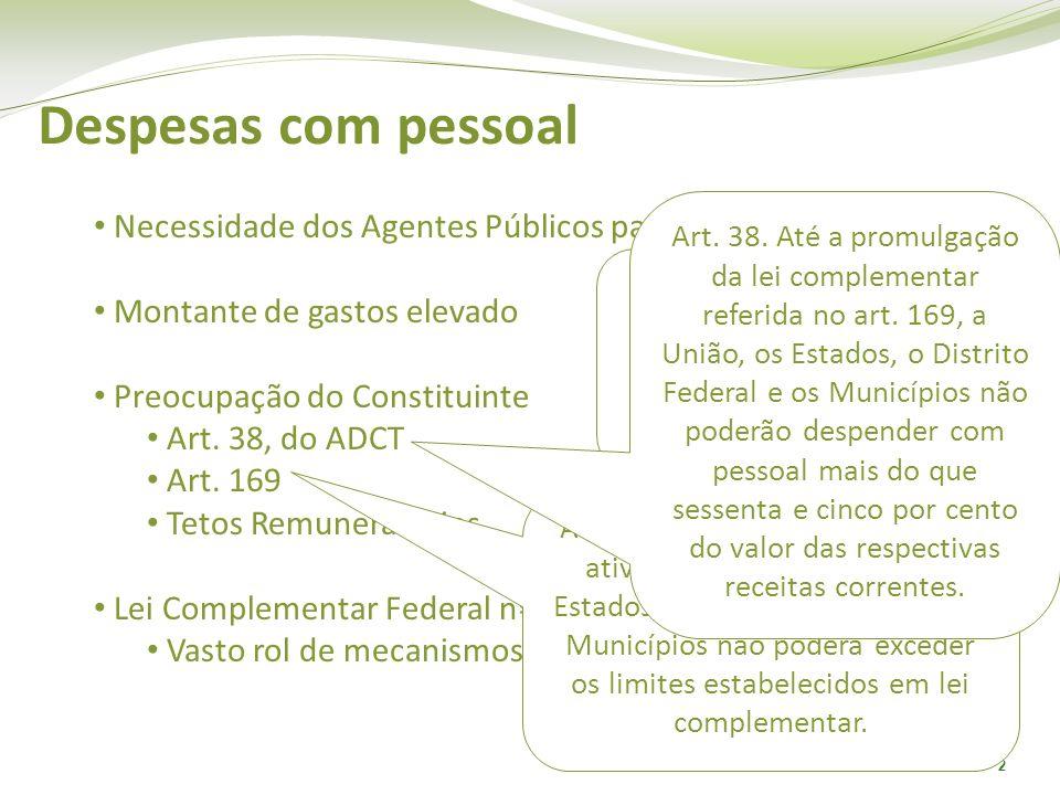 2 Despesas com pessoal Necessidade dos Agentes Públicos para os fins do Estado Montante de gastos elevado Preocupação do Constituinte Art. 38, do ADCT