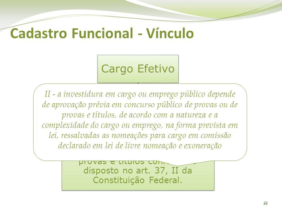 22 Cargo Efetivo São aqueles cargos que possuem característica de permanência e dependem de previsão legal expressa e prévia habilitação em concurso p