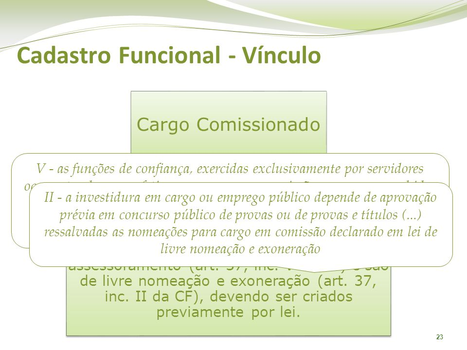 23 Cargo Comissionado Os cargos em comissão estão diretamente atrelados a uma função de direção, chefia e assessoramento (art. 37, inc. V da CF) e são