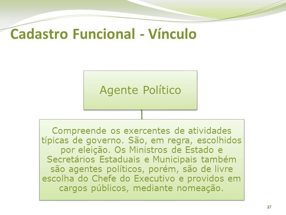 27 Agente Político Compreende os exercentes de atividades típicas de governo. São, em regra, escolhidos por eleição. Os Ministros de Estado e Secretár