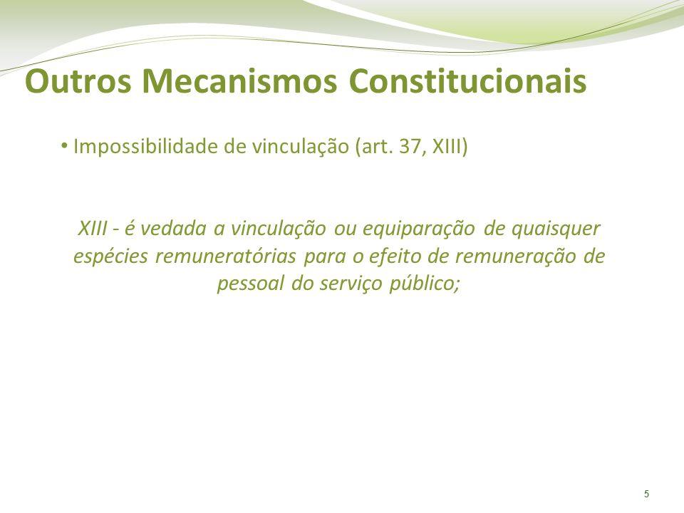 5 Outros Mecanismos Constitucionais Impossibilidade de vinculação (art. 37, XIII) XIII - é vedada a vinculação ou equiparação de quaisquer espécies re