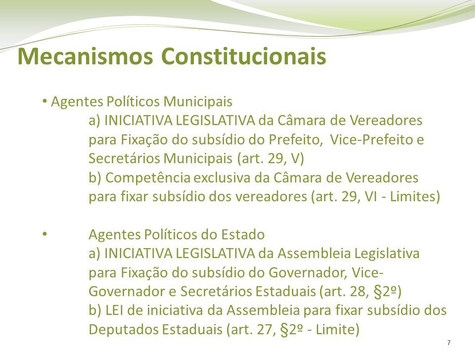 7 Mecanismos Constitucionais Agentes Políticos Municipais a) INICIATIVA LEGISLATIVA da Câmara de Vereadores para Fixação do subsídio do Prefeito, Vice