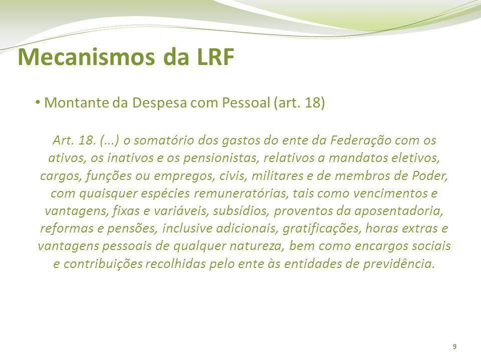 9 Mecanismos da LRF Montante da Despesa com Pessoal (art. 18) Art. 18. (...) o somatório dos gastos do ente da Federação com os ativos, os inativos e