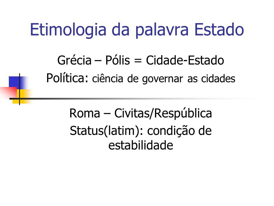 Maquiavel denomina pela primeira vez o conceito de Estado(Status), em sua obra O Príncipe – 1513.