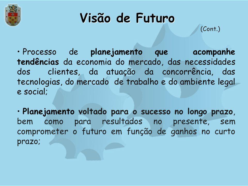 Visão de Futuro A busca da excelência do desempenho e o êxito na missão requerem uma forte orientação para o futuro e a disposição de assumir compromi