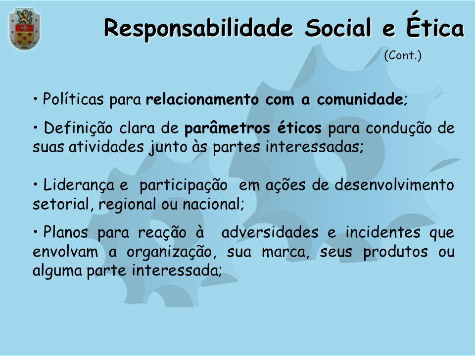 Responsabilidade Social e Ética O sucesso e os interesses de longo prazo da organização dependem de uma conduta ética em seus negócios e do atendiment