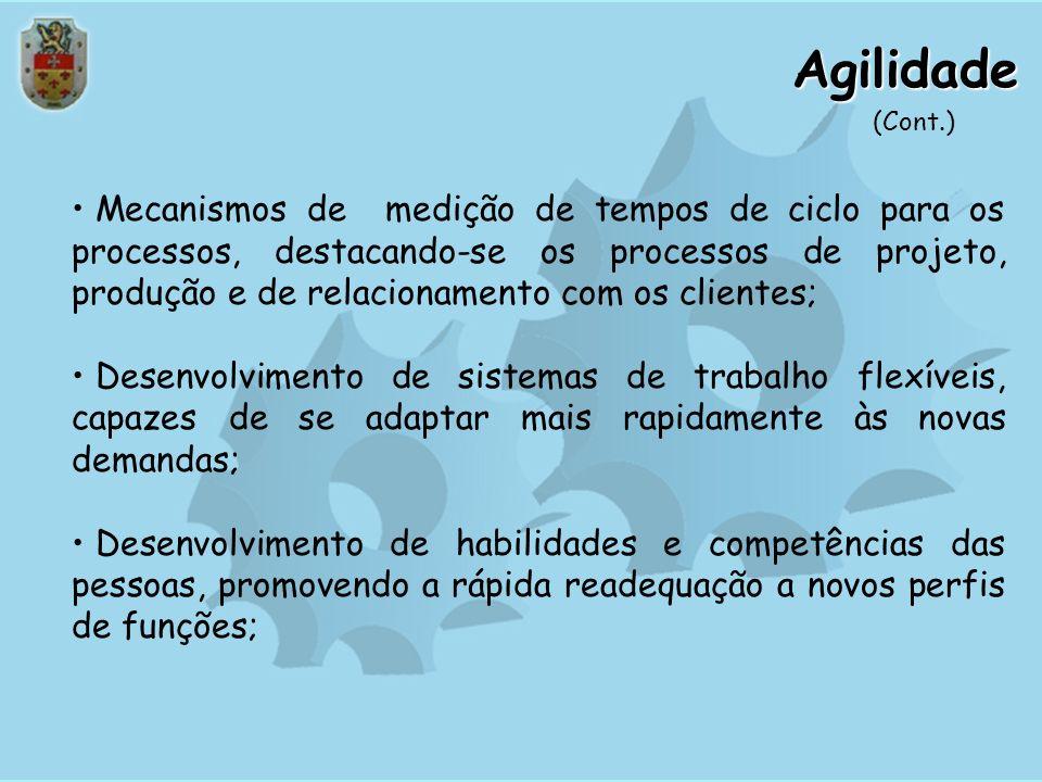 Agilidade O sucesso num ambiente competitivo requer que a organização seja ágil, com um enfoque pró-ativo em suas práticas e resposta rápida no atendi