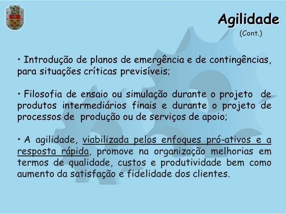 Agilidade Mecanismos de medição de tempos de ciclo para os processos, destacando-se os processos de projeto, produção e de relacionamento com os clien